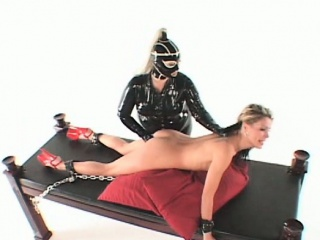 BDSM lesbo mistress dildoing wet snatch