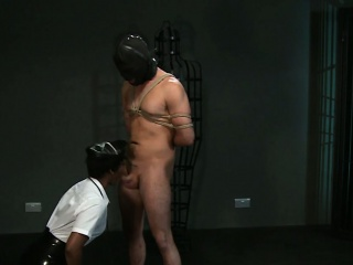 Ebony mistress fucks tied up male slave