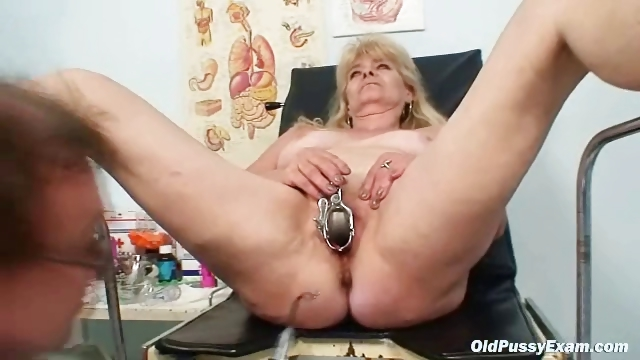 Porno Video of Blond Grandma Kinky Pussy Exam With Enema