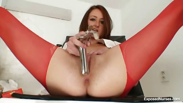 Porn Tube of Sexy Redhead Nurse In Latex Uniform Gets Nasty