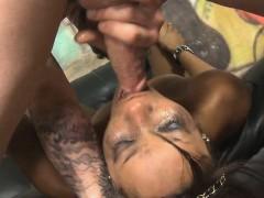 Black Ghetto Slut Getting Her Face Destroyed On Sofa