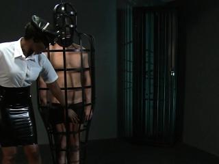 Masked sub fucks ebony mistress interracial dungeon