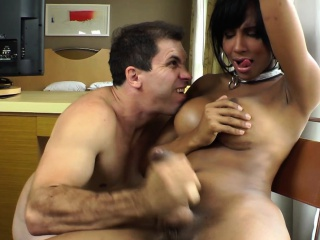 Shemale ebony amateur in stockings assfucked