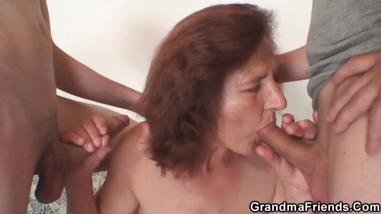 Porno Video of Two Horny Buddies Fuck Granny