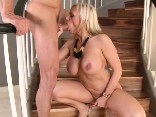 Milf banged on staircase...