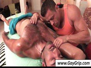 Gay boy gets a nice full body massage from hot gay masseuse
