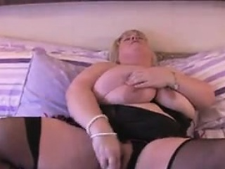 Fat brit wearing lingerie toy...