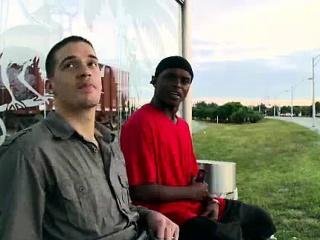Black gay dude sucks cock for cash outdoors