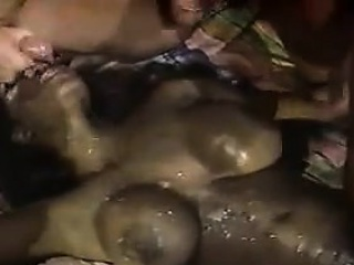 Ebony Mom Gets A Lot Of Cum On Her Body