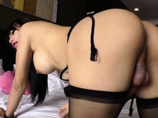 Asian shemale TS tugs her cock