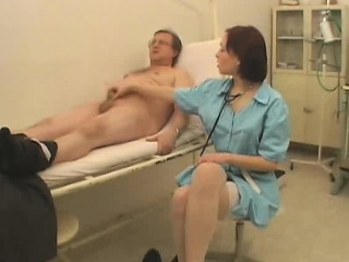 Hot Older Man Doctor Takes Patients Dick Temperature