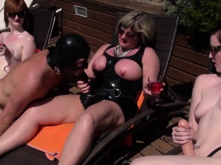 Outdoor British Mistresses Dominating Subject...