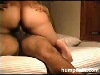 Latina wife with a big booty rides her husbands cock as he pumps