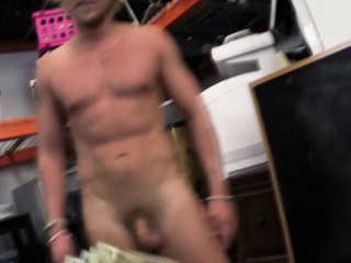 Nude pawnshop client posses for pictures