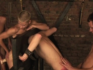 BDSM gay sex in dungeon with four horny twinks