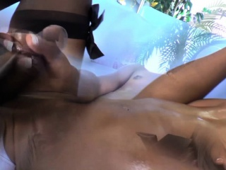 Ebony shemale sperm covered