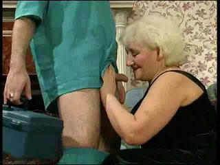 Blonde granny wants to fuck the doctor