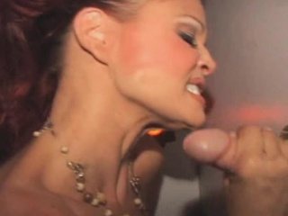 Redheaded Vegas Show Girl Milking Dick Dry At Glory Hole
