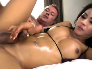 Asian Shemale Candy N Enjoys Anal Sex