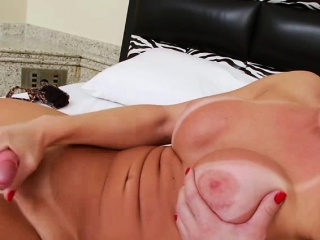 Tgirl Carla plays herself and pours cum in solo masturbation