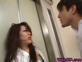 Asian models are fucked in an elevator part1