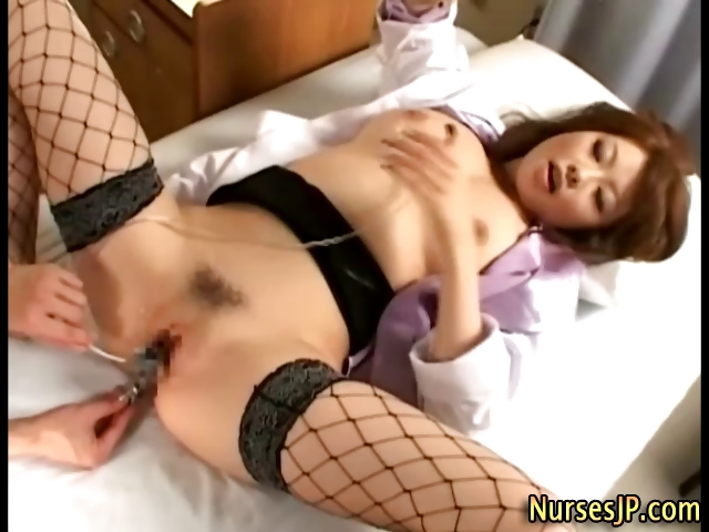 Horny Japanese Slut Drinks Cum