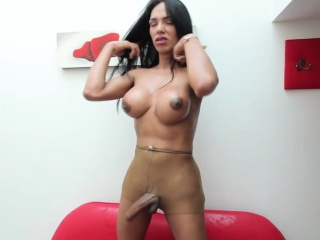 Shemale with nicetits tugging and pissing