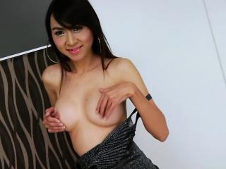 Asian Tranny Sugar express her lust in a solo masturbation