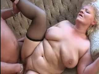 Porno Video of Busty Granny In Stockings Loves Cock