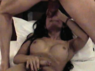 Teen ladyboy with nice tits gets cumshot all over her cock
