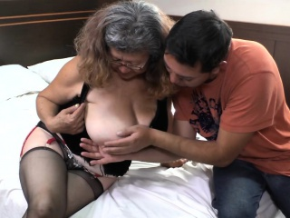 Delivery with old granny boobs...