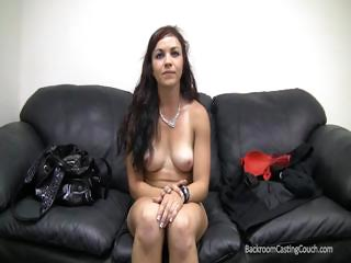 Sex Movie of Cute Brunette On The Casting Couch Gets Naked And Bangs Cock