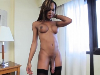 Ebony shemale strokes her huge cock