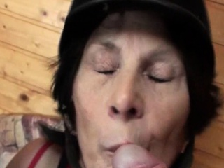 Dirty mature gives double BJ and gets drilled