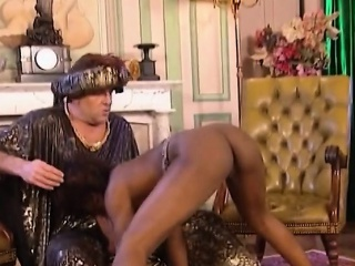 Horny brunette hottie fistfucks ebony slave tight pussy