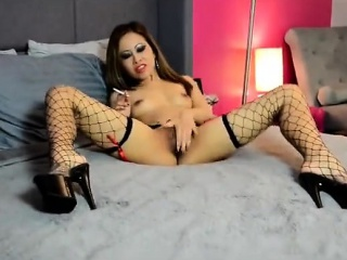 asian outstanding elegance smoking and masturbating