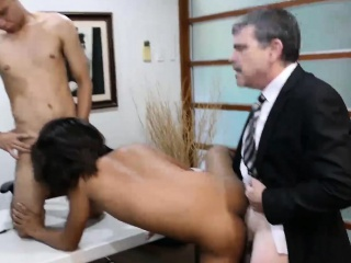 Two asian guys and daddy have bareback sex in the office