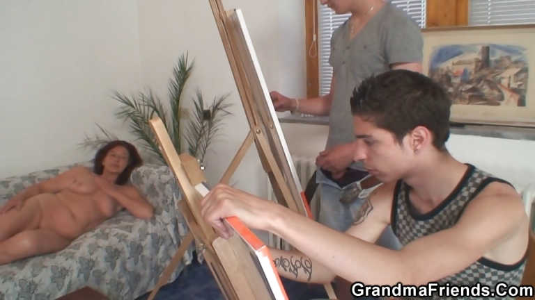 Porno Video of Naughty Granny Takes Two Young Dicks
