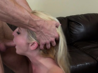 naughty ashley stone bounces on a hard stick and then gets facialized