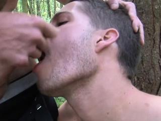 British stud cocksucking outdoors before facial