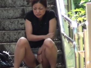 Pissing asians panties