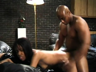 Hairy ebony babe seduces a hung black guy and begs for a deep fucking
