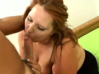 carrot-top bbw serenity gets naked on the couch for a steamy round of oral sex