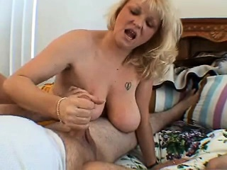 naughty blonde lady with saggy boobs gives a helping hand pov style