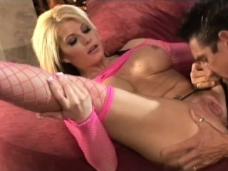 bodacious blonde slides her panties to the side and gets pounded hard