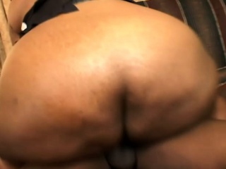 Fat ebony babe enjoys a session of intense drilling with a black stud