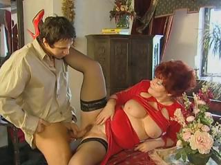 Sex Movie of Red-haired Granny Spreads Her Stockinged Legs And Gets Her Bushy Hole Worked Out