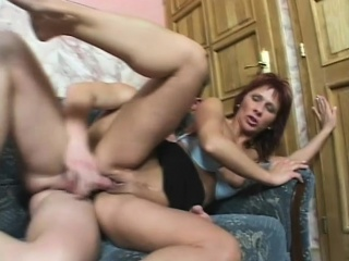 lustful redhead milf with sexy long legs feeds her desire for anal sex