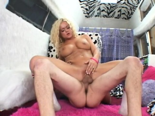 busty blonde slut in kneesocks takes an erect dick deep into her hairless cunt