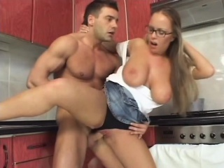 horny blonde with huge tits rides a cock like there's no tomorrow